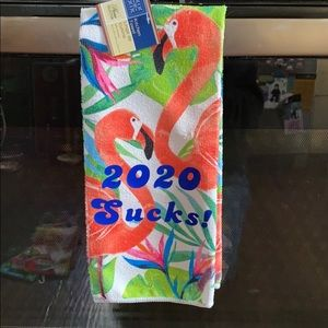 2020 Sucks! Kitchen Dish Hand Towel Flamingos